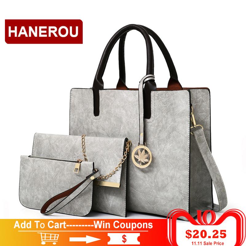 6f25d1489ed1 2019 Fashion 2018 New Women Bags Set Leather Handbag Women Large Tote Bags  Ladies Shoulder Bag Handbag+Messenger Bag+Purse Sac A Main Discount Designer  ...