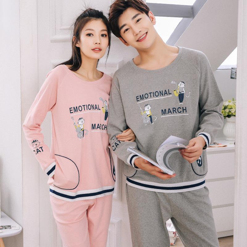 2017 New Couple Pajamas Sets Women100% Cotton Cartoon Sleepwear Men Long Sleeve Nightwear Homewear Lounge Wear Home Clothes Gift