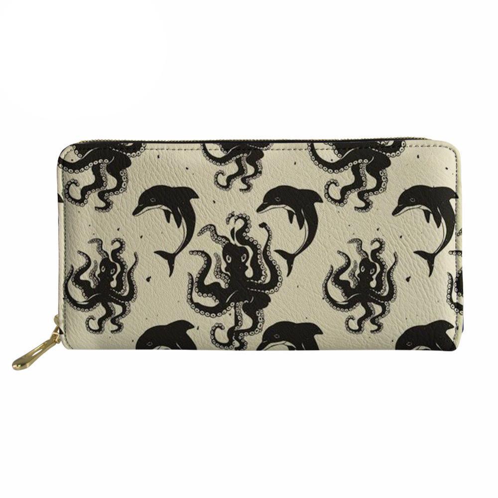 più recente 5aac1 2305e Noisydesigns Octopus stampato portafogli donna signore Cluth borsa sottile  lungo per le femmine telefono titolare di cassa sveglia moneta cambia tasca