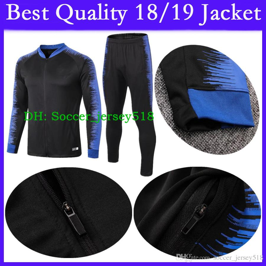 :) Best Quality Inter Soccer Tracksuit Jacket Kit 2018/19 ICARDI KONDOGBIA PALACIO JOVETIC CANDREVR 18/19 Tracksuit Jacket Adult Long Sleeve