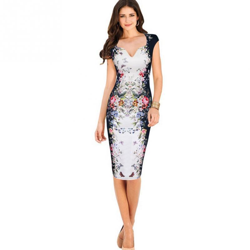 5c585c7b61 Compre Mujeres Elegante Oficina Señora Vestido Formal Floral Impreso  Profundo Escote En V Vestido De Fiesta Sexy Vaina Túnica Lápiz Vestido A   28.59 Del ...