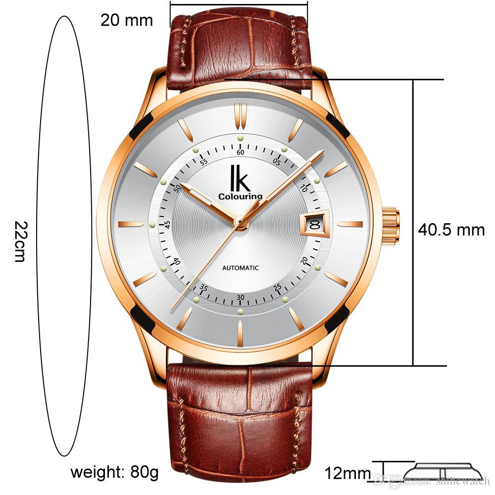 98dc22c6d87 Compre IK Coloração K007 Relógio Pulseira De Couro Clássico Dos Homens Data Relógio  Mecânico Automático À Prova D  água De Luxo Relógio Homens Relogio ...