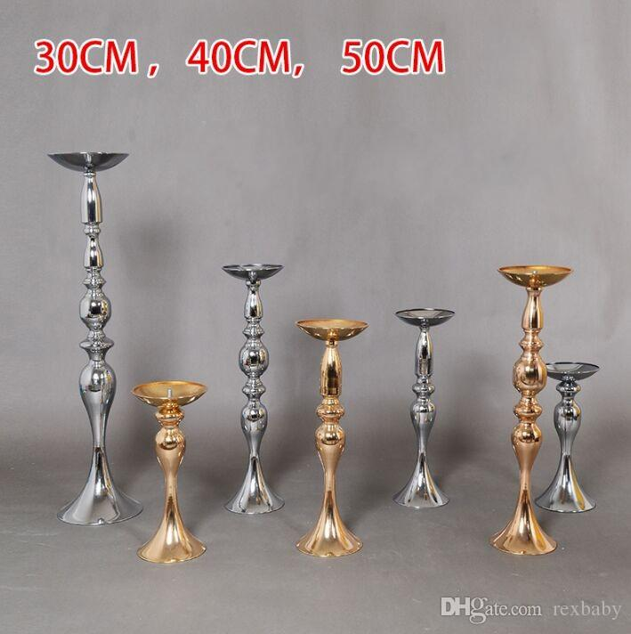 Cheap Sales !!Wedding Candle Holder 30/40/50cm silver/gold Romantic Standing Wedding Candlestick Wedding Flower Stands Silver Candelabra