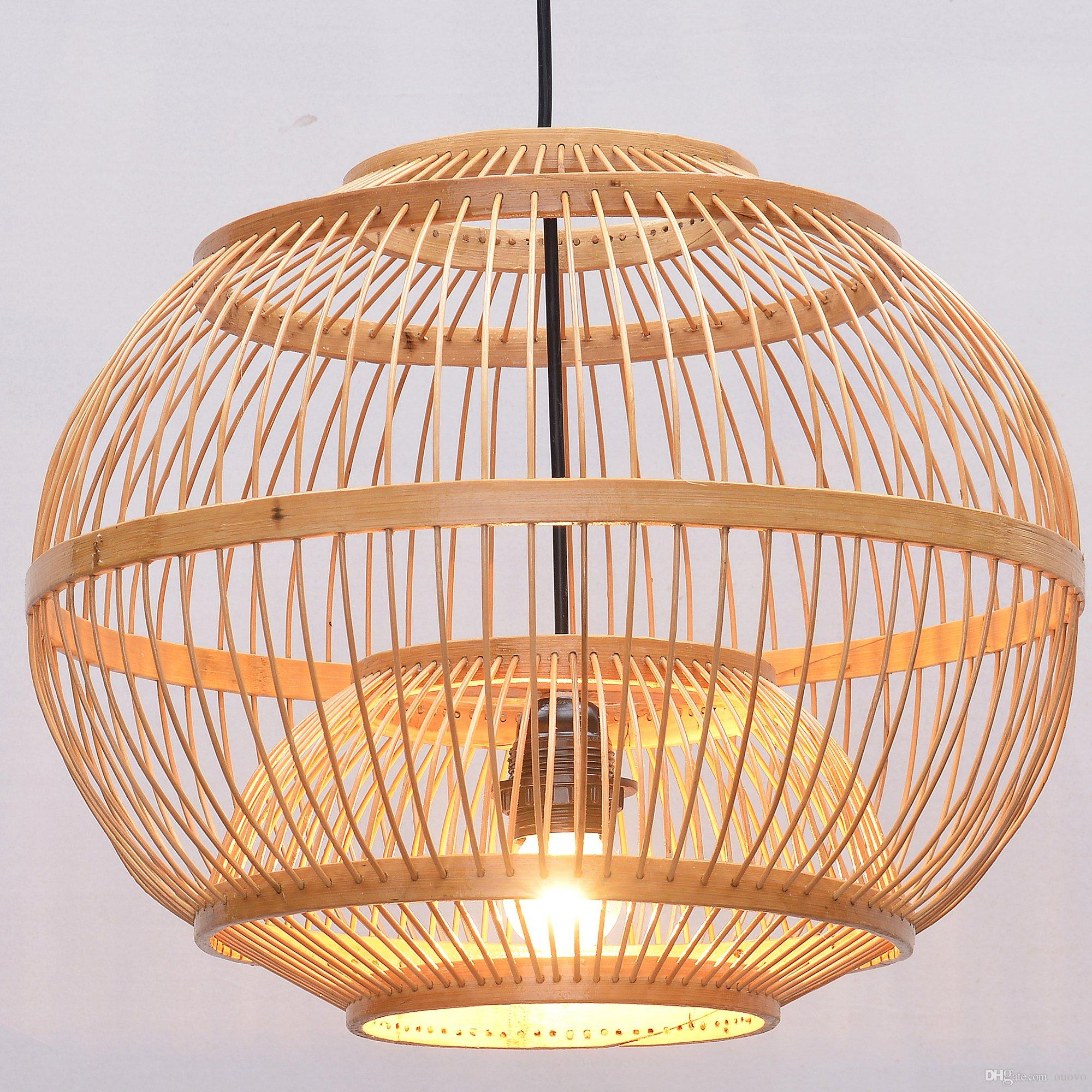 South Asian Bamboo Lantern Dining Room Ceiling Pendant Lamp Japanese Restaurant Lights Country Rustic Hanging Lamps Fans With