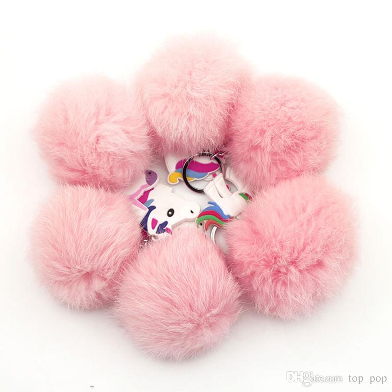 2018 Emoji Einhorn Pom Keychain Anhänger Nette Pompom Künstliche Kaninchenfell Ball Schlüsselanhänger Tasche Auto Schlüsselanhänger Hang Bag XL-570