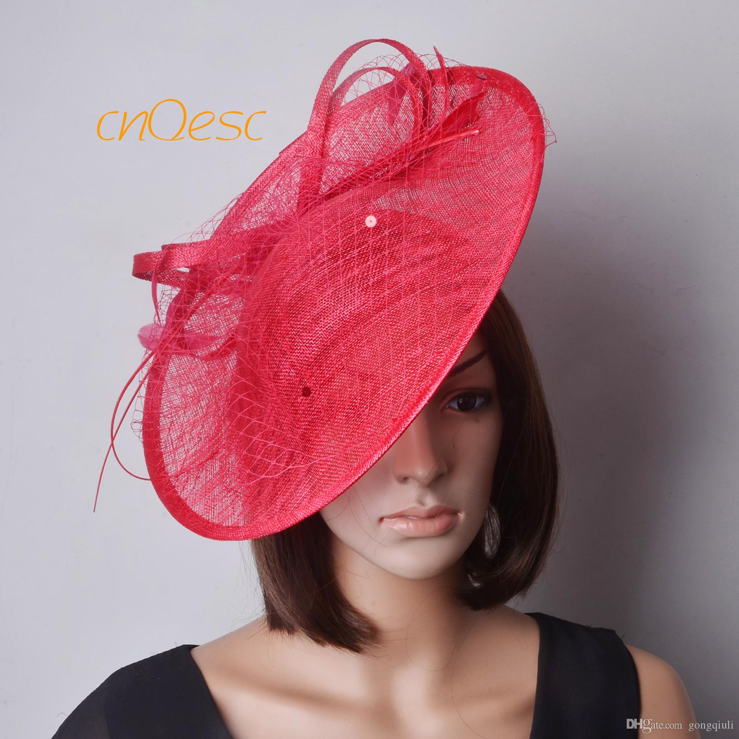 RED Saucer Fascinator Sinamay Fascinator Formal Hat for Races ... c00f6620cffd