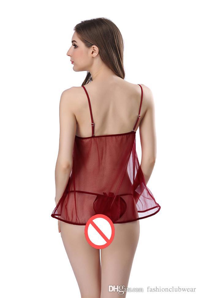 Sexy Deep V-Neck Nightdress Women Sheer Mesh Nightwear Transparent Half Silps Summer Nightgown Sleepwear See Through Lingerie