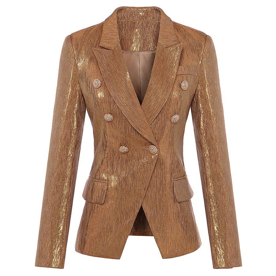 Anzüge & Sets Frauen Kleidung & Zubehör Angemessen Hohe QualitÄt Neueste Mode 2019 Designer Blazer Frauen Zweireiher Lion Tasten Samt Blazer Mantel