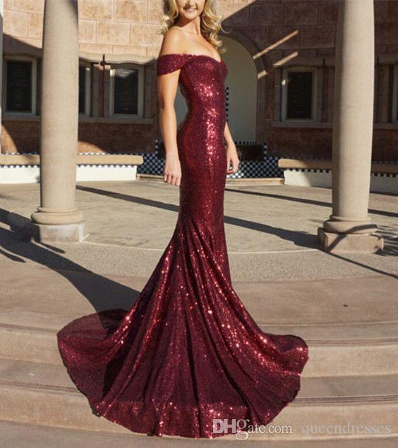 Cheap Burgundy Long Evening Dresses Off Shoulder Cap Sleeve Meramid Evening Gowns Sequins Sweep Train Formal Women Special Occasion Dresses
