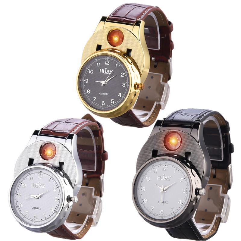 283777da0054 Compre 3 Unids   Lote Diseño Creativo Hombres Reloj De Cuarzo Encendedor  Carga USB Sin Viento Encendedores De Cigarrillos Sin Llama Electrónico Sin  Gas ...