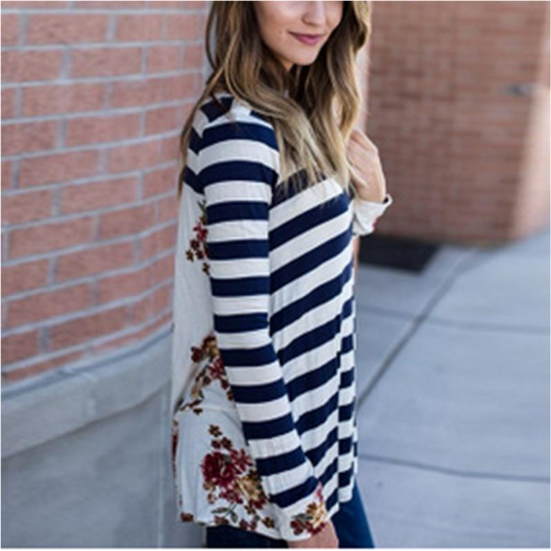 e76fe34bd0375 2019 Print Top 2017 Autumn Long Sleeve Blouse Blue Red Striped O Neck Long Sleeve  Zipper Back Floral Blouse From Cute08