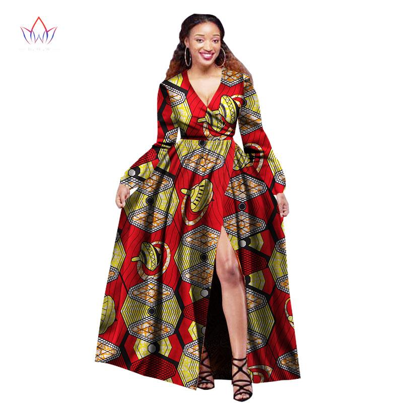 64d6117867 African Dresses For Women Long Sleeve Slip Party Dresses Plus Size Bazin  Riche 6XL Dashiki Print African Clothing BRW WY1395 Special Occasion Dresses  Red ...