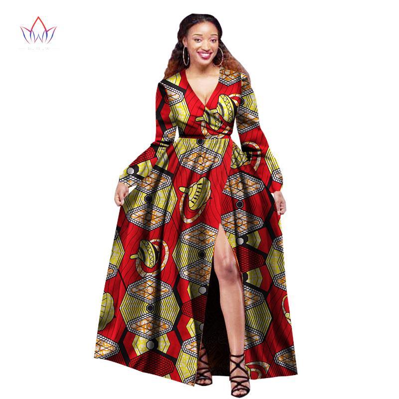 7391ce010c Compre Vestidos Africanos Para As Mulheres De Manga Longa Slip Vestidos De  Festa Plus Size Bazin Riche 6XL Dashiki Impressão Roupas Africanas BRW  WY1395 De ...