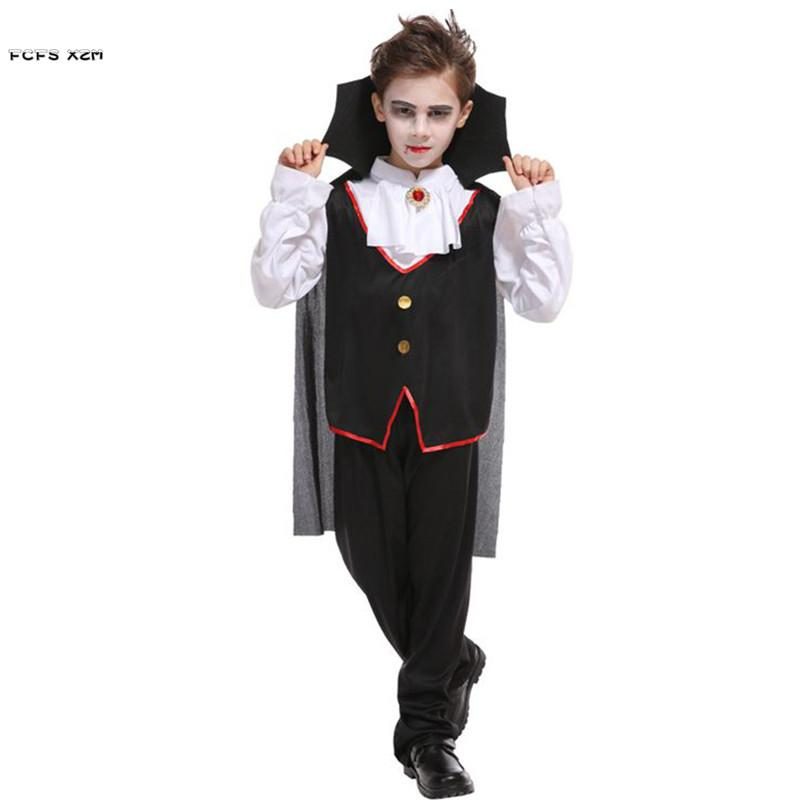 Halloween Vampire Costume Kids.M Xl Boys Halloween Vampire Costumes Children Kids Death Dracula Scary Cosplays Carnivl Purim Masked Ball Masquerade Party Dress