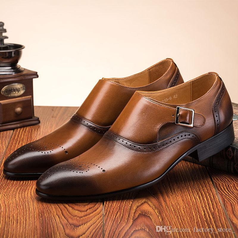 310db07bf72fe Designer Brogue Shoes Men Double Monk Strap Shoes Men Formal Italian Brand  Mens Shoes Casual Zapatos De Hombre Erkek Ayakkabi Sepatu Pria High Heels  Heels ...