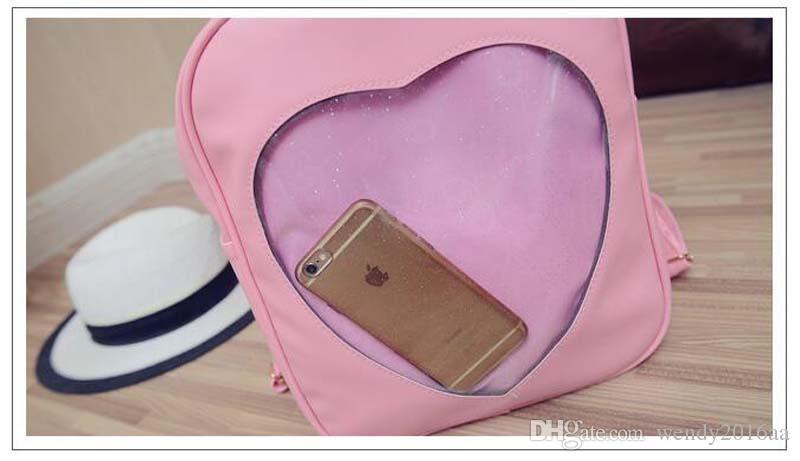 2018 Doce de Verão Transparente Amor Coração Forma Mochila Harajuku Mochila Escolar Bolsas de Ombro Para Meninas Adolescente
