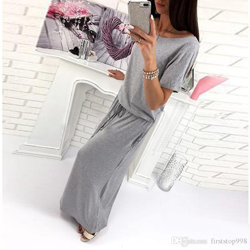2018 New Dress Hot Selling Casual Home Clothes for Women Soft Cotton Fabric Gray Short Sleeve Dresses Free Ship