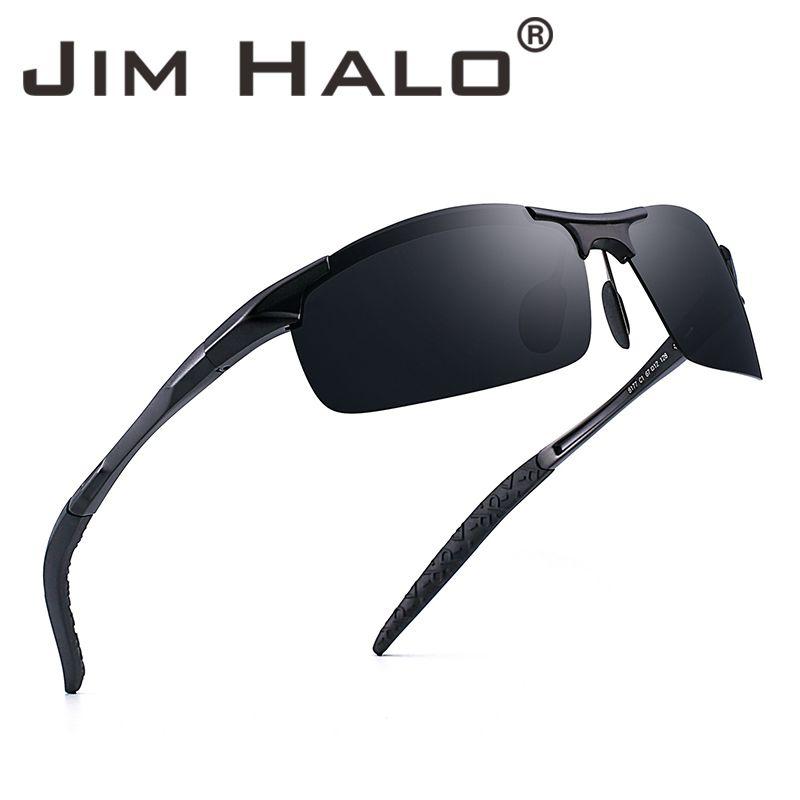 51ecd59634 Jim Halo Sports Polarized Aluminum-Magnesium Sunglasses Metal Spring Hinge  Driving Fishing Cycling Sun Glasses Men Eyewear Driving Polarized Sunglasses  ...