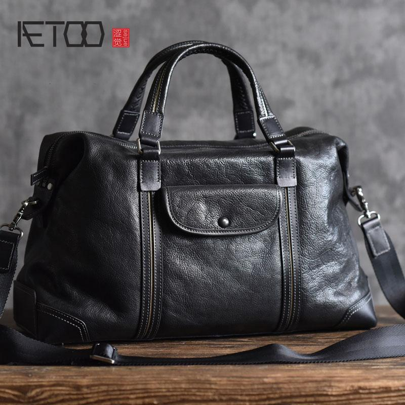 85d82629491c AETOO New High Quality Vegetable Tanned Leather Bag Casual Travel Small Travel  Bag Top Layer Leather Original Handmade Men Travel Duffel Bags Duffle Bags  ...