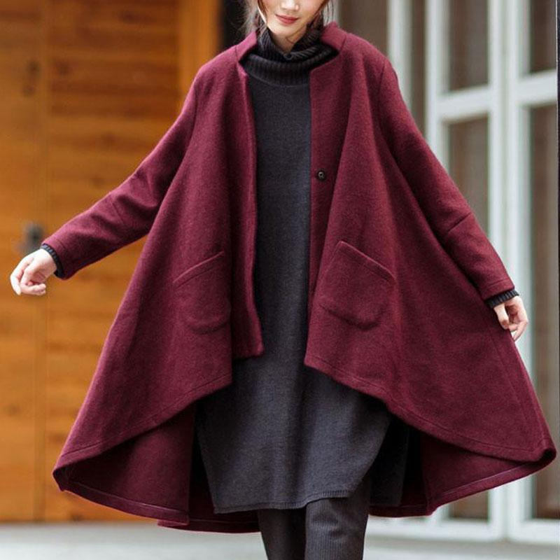 dbbfc2a355e Zanzea Winter Retro Women Stand Collar Long Sleeve Pockets Button Woolen  Blend Coat Loose Asymmetric Hem Jacket Cape Plus Size Women Leather Jackets  ...