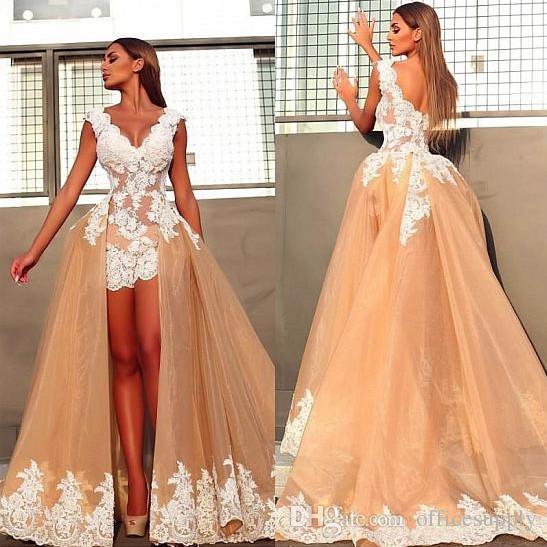Discount Vintage Wedding Dresses With Detachable Train V Neck White Lace  Applique Mini Hi Lo Short Bridal Gowns Cheap Wedding Dresses Online Corset  Wedding ...