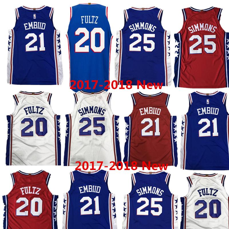 Wholesale 2017-2018 New 21 Joel Embiid Jersey 25 Ben Simmons 20 Markelle  Fultz Blue All Embroidery Basketball Jerseys Simmons Jersey Joel Embiid  Jersey Ben ...