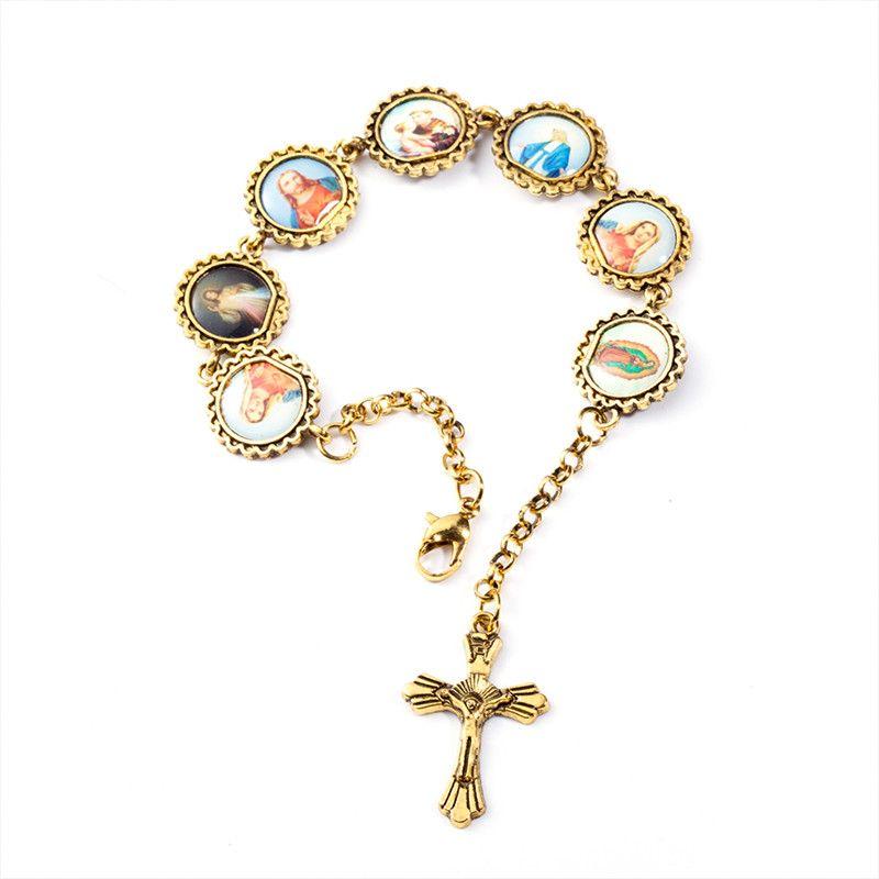 Bracelets & Bangles Golden Cross Bracelet Jesus Virgin Mary Saint Cross Bracelet Bangle For Women Men Religious Jewelry Christmas Gift Wholesale