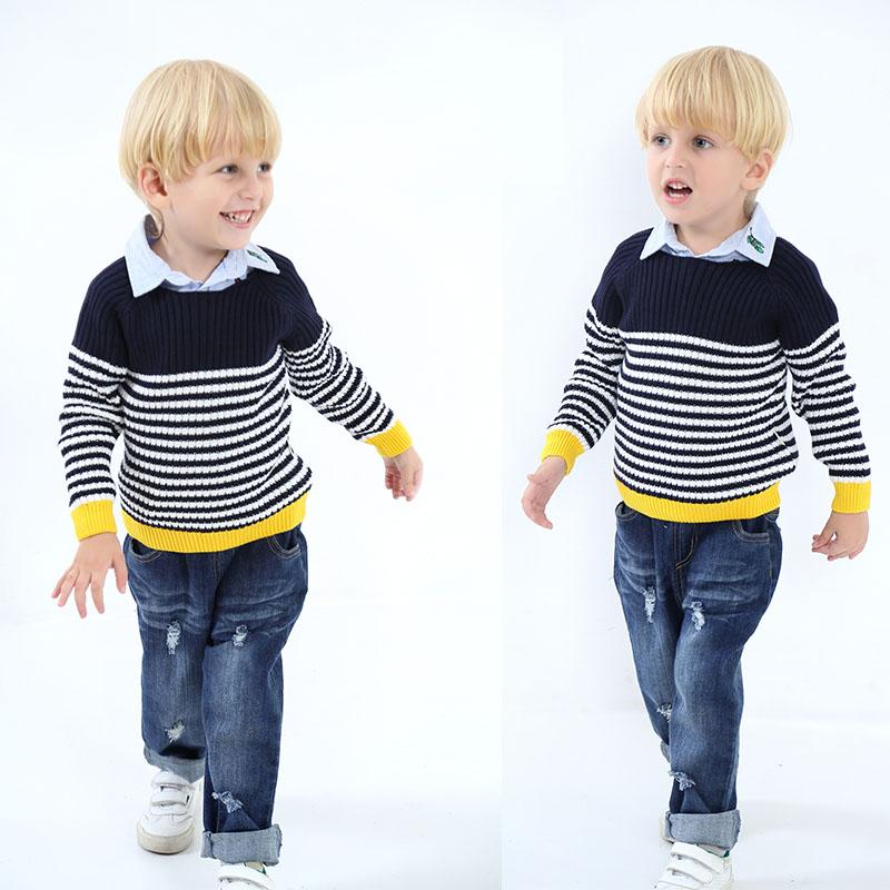 63060f2a9 Kids Sweaters Boys Striped Sweaters Children Pullover 2018 Autumn ...