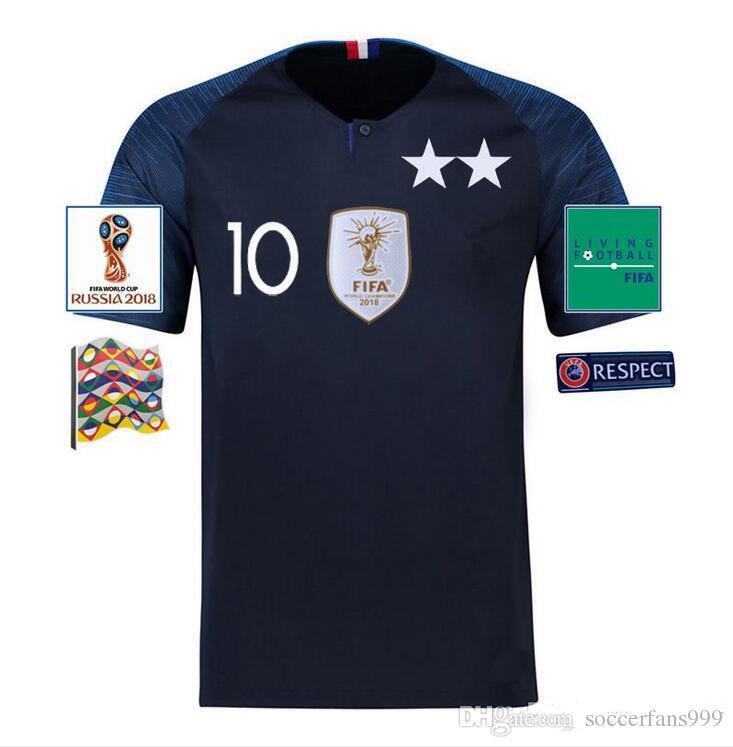 New 2 Star GRIEZMANN  7 MBAPPE 10  POGBA 6  Soccer Jersey KANTE 13 ... 898b15ec3
