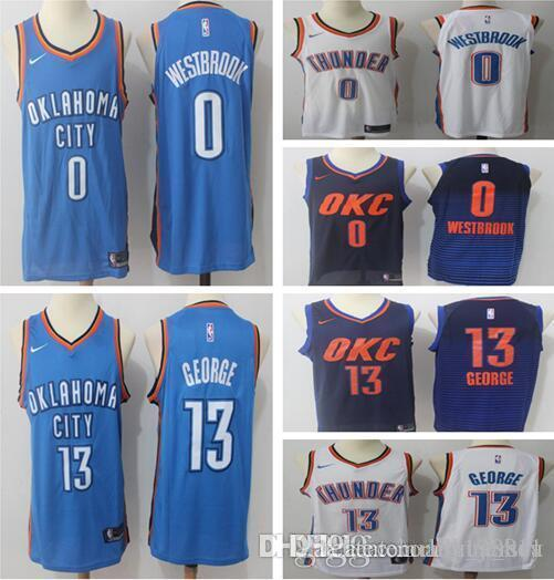 50379e88b 2018 2018 2019 Men S Oklahoma City 13 Paul George Thunders 0 Russell  Westbrook Jersey Basketball Jerseys Stitched Jerseys From Lily jersey