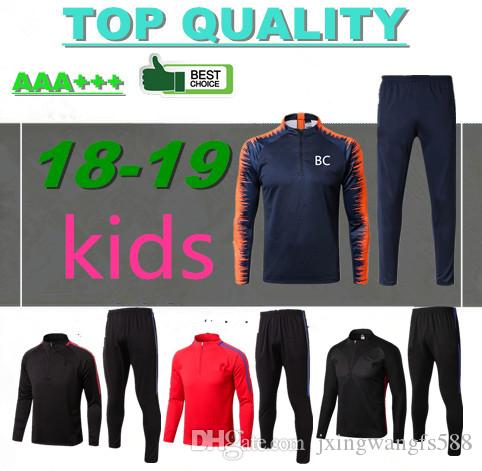 f5c5efbb8e9 2018 Kids Long Sleeve Training Suit 17 18 Messi Suarez Survetement Jacket Training  Suit Children 2018 Real Madrid Tracksuit Boys Football Chandal From ...