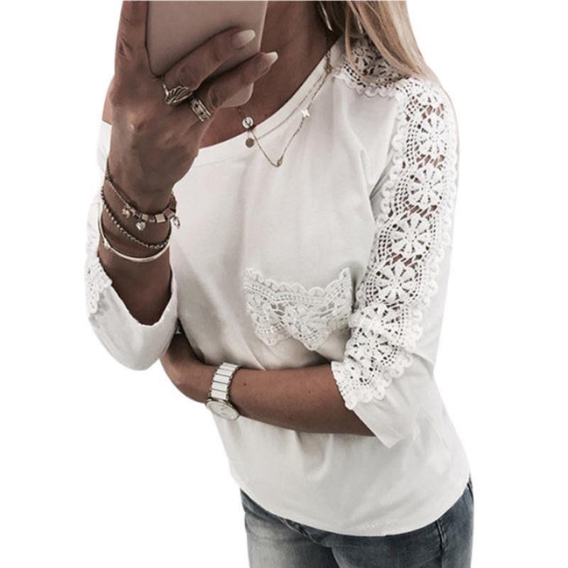 dernières tendances plus tard plutôt cool Blouse en dentelle blanche à manches longues pour femmes 2018, tunique  d'été, femme surdimensionnée, élégante chemise de bureau en coton, Blusas  Mujer