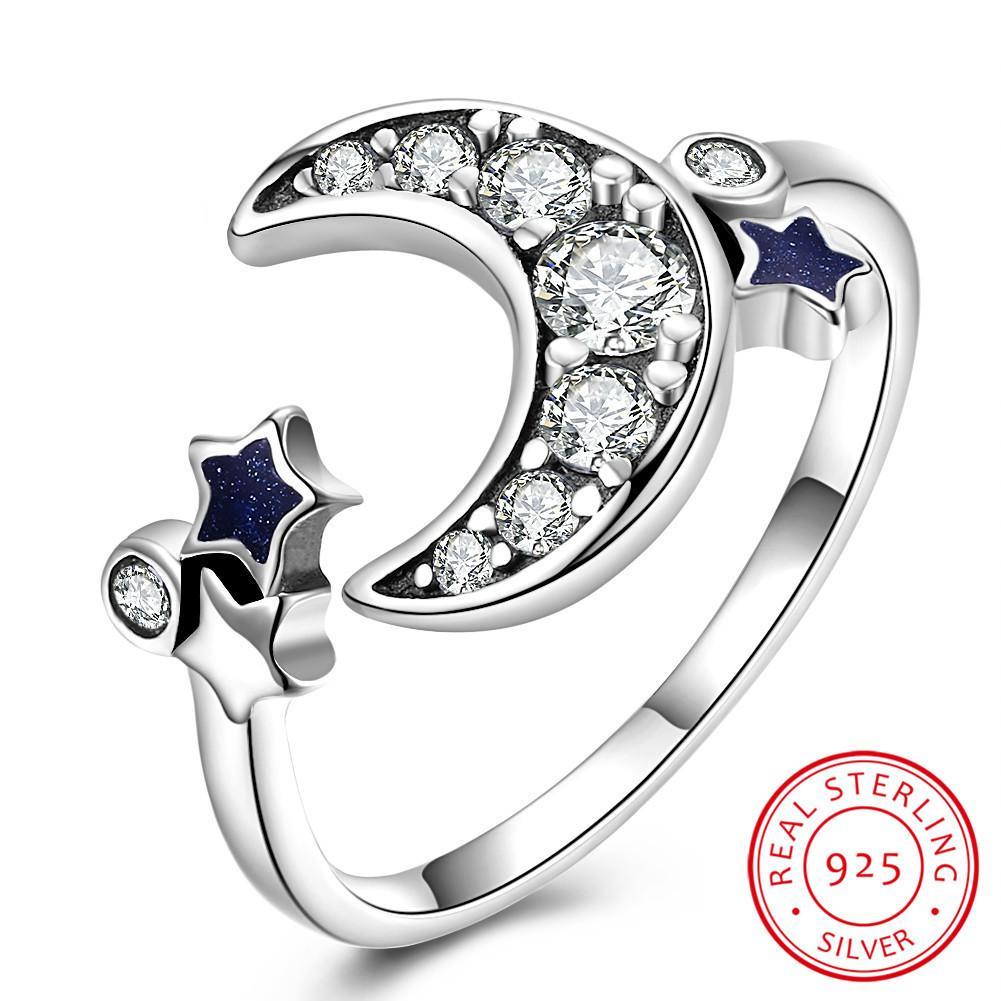 605ffb36328d Compre Plata De Ley 925 Nueva Colecciona Luna Estrella Deslumbrante CZ Anillo  De Dedo Abierto Para Mujeres Joyería De Compromiso De Boda Regalo A  13.19  Del ...