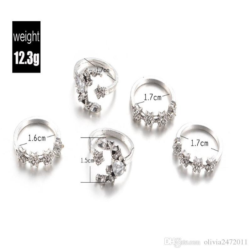 Новый Boho стиль кольца наборы для женщин обручальное кольцо Циркон Кристалл палец кольца подарки старинные серебряные 5 шт. кольцо комплект ювелирных изделий