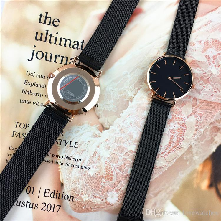 2020 Fashion Hot sell women/man Watch lovers wristwatch Cool Black lady Quartz free box Wholesale price Top Quality Gift Accessories Luxury