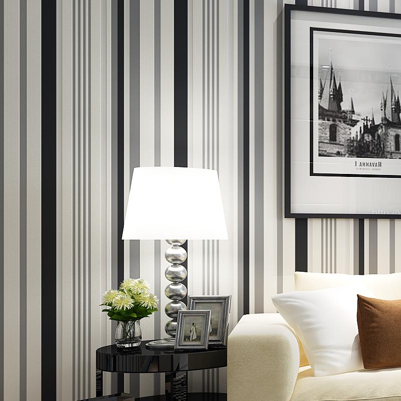 Black And White Vertical Striped Wall Papers Home Decor For Living