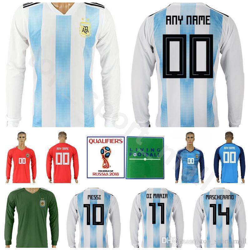 923316c6e1e 2019 Argentina Long Sleeve Jersey 2018 World Cup Men Soccer 10 MESSI 11 DI  MARIA Football Shirt Kits Home 14 MASCHERANO 19 KUN AGUERO 9 HIGUAIN From  ...