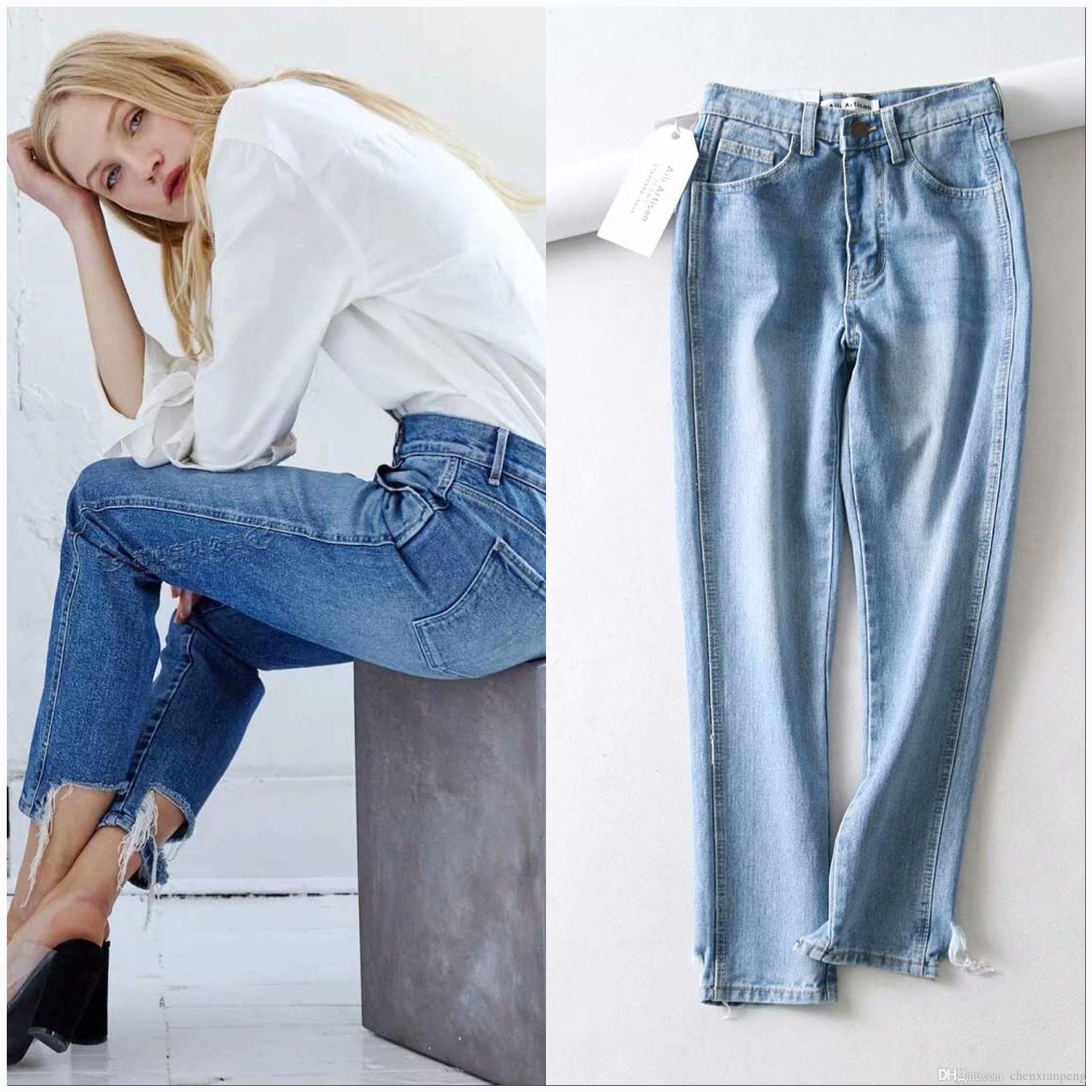 Acheter 2018 A La Mode Taille Elastique Dechiree Jeans Femmes Femme