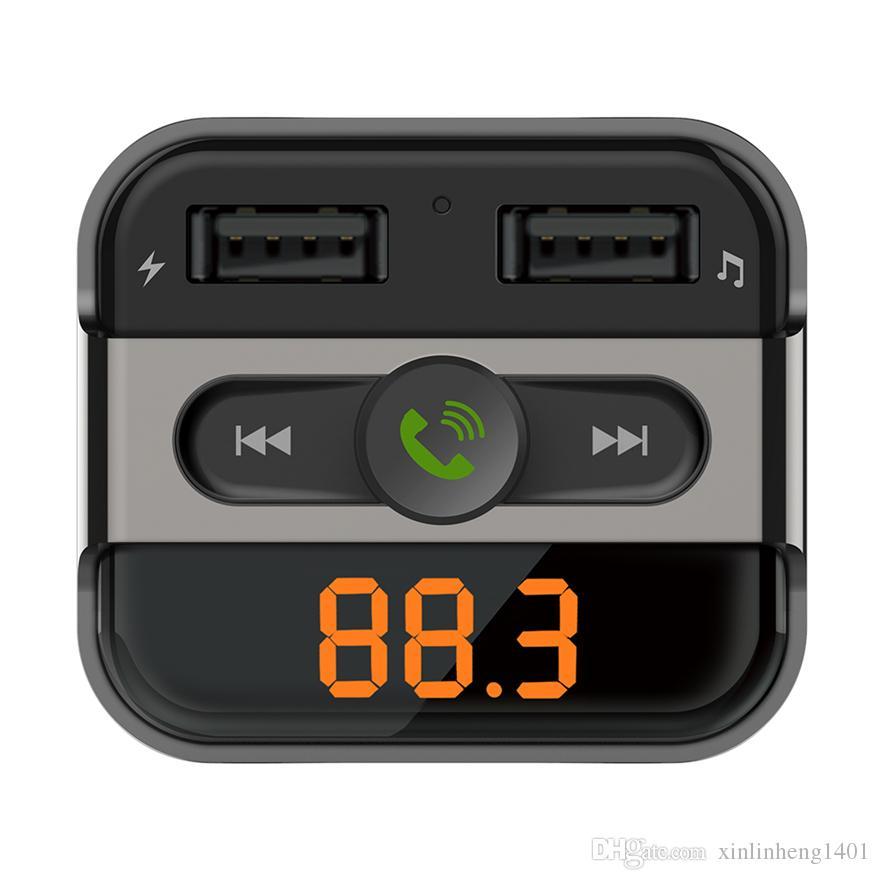 Bestsin Auto-Ladegerät Bluetooth Car Kits MP3-Player mit TF-Kartensteckplatz Dual-USB-Port Auto-Ladegeräte Freisprecheinrichtung Telefon FM Transmitter