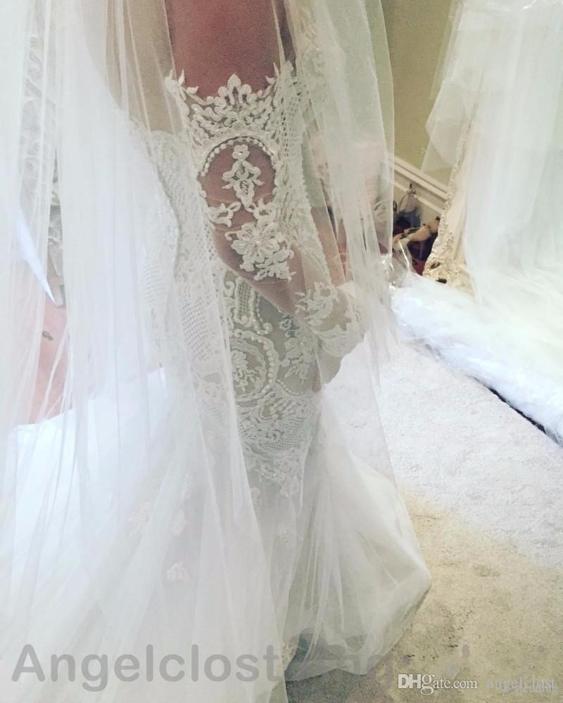 Vintage Lace Wedding Dresses 2019 Off Shoulder Long Sleeves Sweep Train Appliques Bridal Gowns Robe De Mariée Luxury Mermaid Wedding Dresses