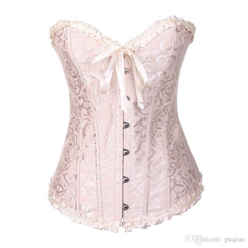 Femmes Jacquard Floral Couleur Unie Dentelle Taille Body Shapers Overbust Taille Cincher Bustier Corsets / sac Drop Shipping