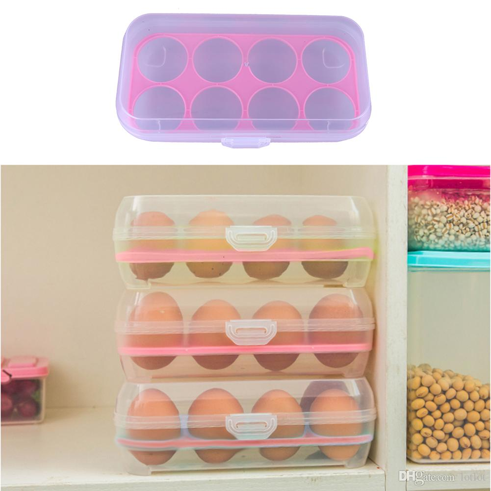 8 grilles Egg Box Organisateur de conteneur de nourriture Boîtes de rangement pratiques Double couche Durable Bac à légumes de cuisine
