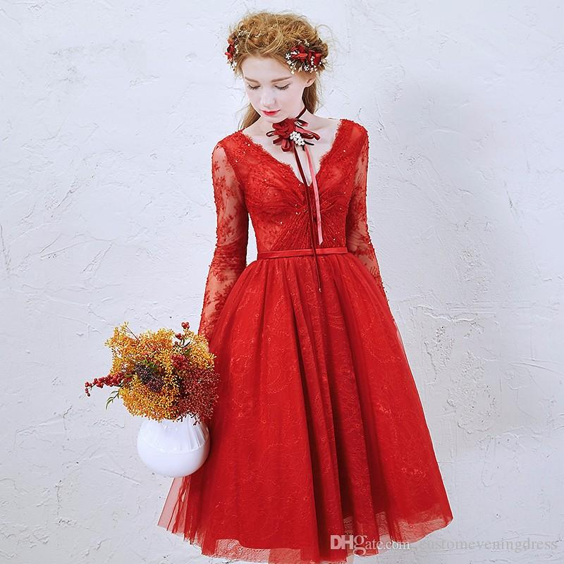 A line V neck Long Sleeve Cute Graduation Dress Cheap vestido de festa robe de soiree Red Lace Short Homecoming Dresses 2018