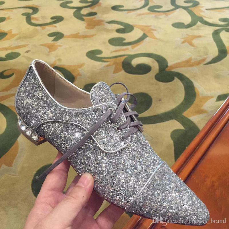 2018 new sequin crystal diamond single shoes female princess small shoes wild flat with classic leather pointed feminine