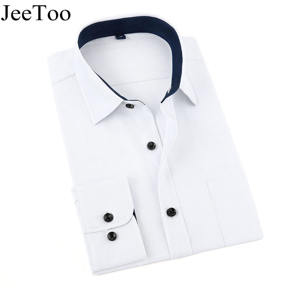 d9b42af0 JeeToo Brand Men Shirts 2017 White Mens Dress Shirts Long Sleeve ...