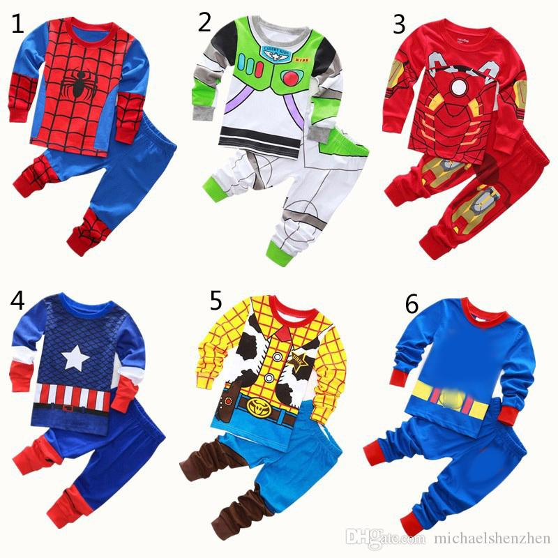 e9be2cad29 Boys Girls Superhero Pajamas 2018 New Children Avenger Iron Man Captain  America Spiderman Long Sleeve Tops + Pants Sets Suits B001 Baby Christmas  Pajamas ...