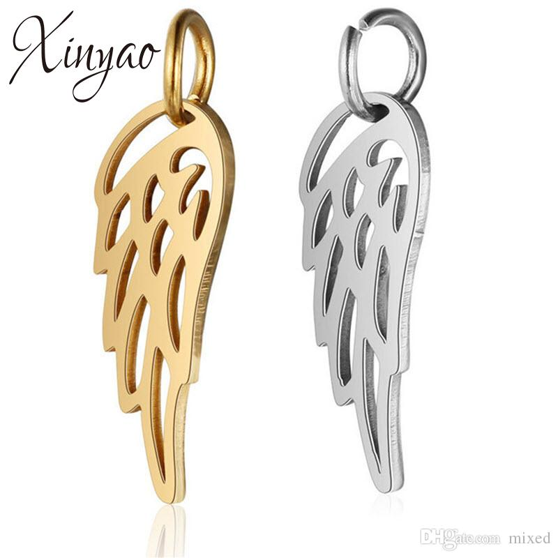 XINYAO 10Pcs/lot Gold Silver Color Stainless Steel Angel Wing Charms Pendant For Diy Necklace Bracelet Jewelry Making 6x20mm