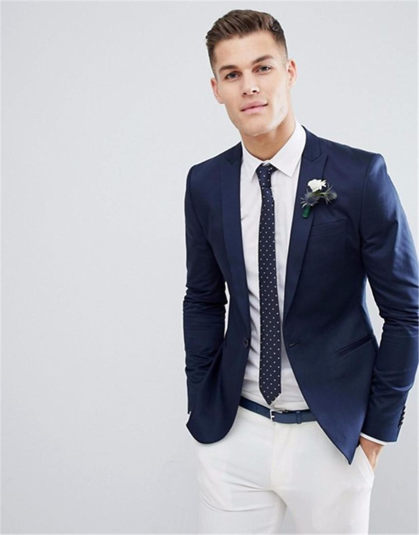 367c65b1d368 Top Quality Navy Blue Wedding Blazer and White Pants Slim Fit Mens Suit 2  Pieces Set (Jacket+Pants) Custom Made