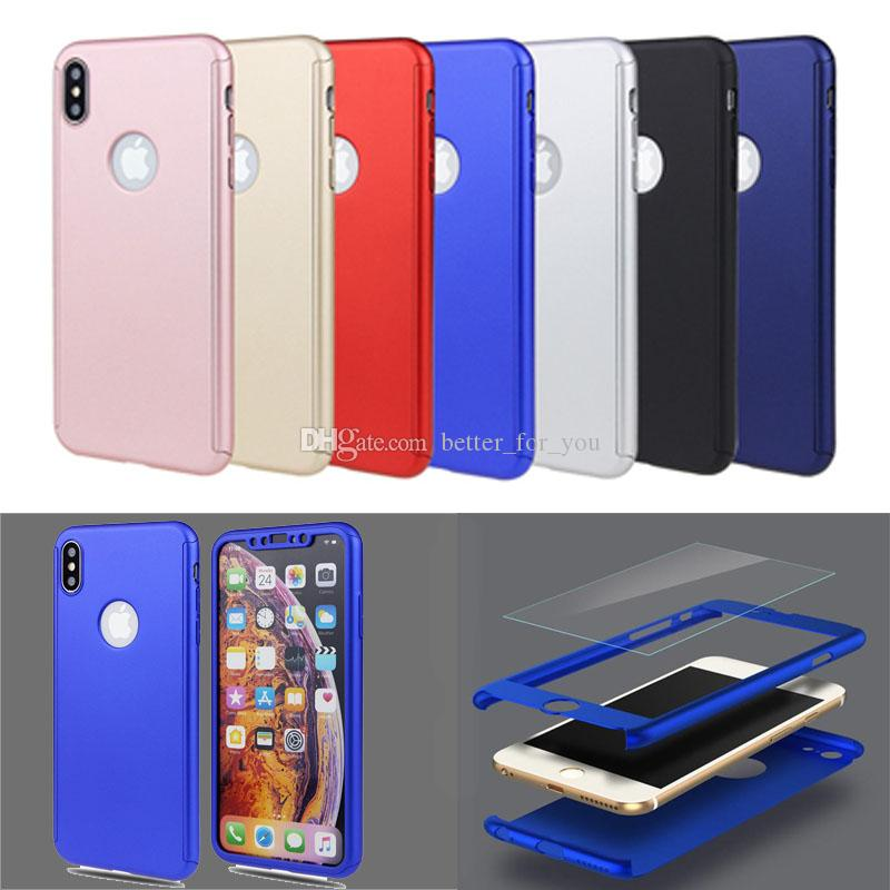 promo code c192d be4e7 Ultra-thin Phone Case Hybrid 360 Degree Full Body Shell with Tempered Glass  Screen Protector for iPhone XR XS 7 6s 5s Protective Cover