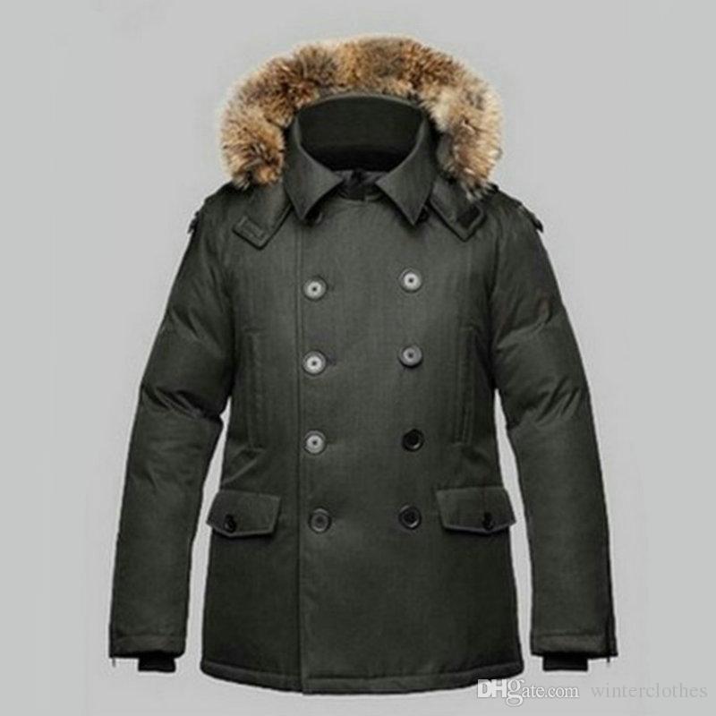 Brand Winter Anorak Jacket Men Canadian Mens Windbreaker Double row of buttons Lapel Neck Real Fur Collar outerwear parkas
